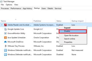 disable startup program windows10 2